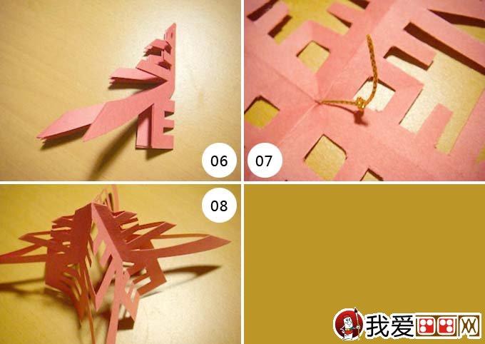 """春字剪纸教程步骤六:裁剪好后是不是已经可以看出""""春""""字的形状了。 春字剪纸教程步骤七:我们把它打开,就可以看到四个""""春""""字。 春字剪纸教程步骤八:取出绳子在顶点处固定好。  春字剪纸教程步骤九:涂上胶水,然后靠拢。 春字剪纸教程步骤十:我们的""""春""""字剪纸教程完成了,红红的颜色很喜气。"""