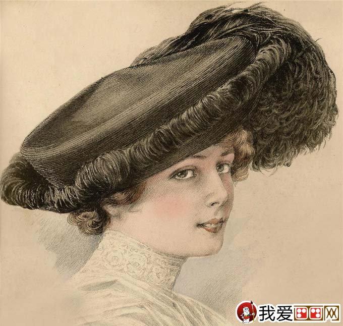 学画画 素描教程 素描作品     超级写实素描:欧洲古典美女头像彩色铅