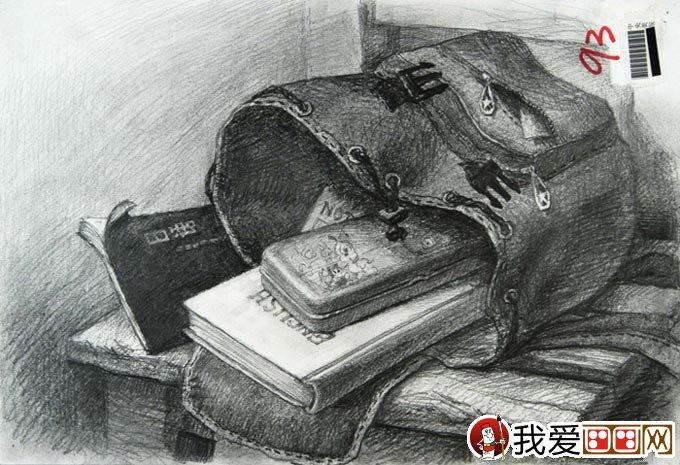 中国美术学院高考素描高分试卷:5副书包素描作品(3)图片