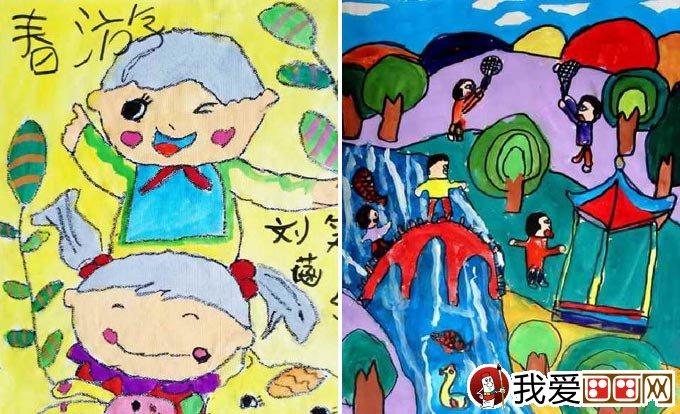 儿童画春游 关于春天春游的儿童画图片大全_儿童画_学