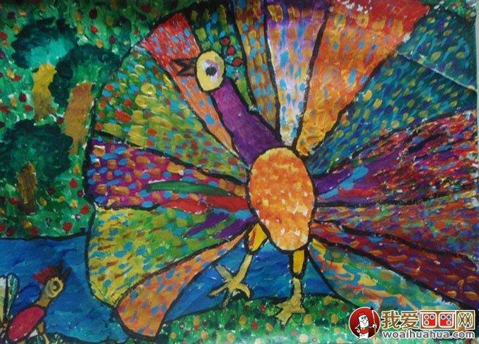 美丽的孔雀开屏儿童水粉画(2)