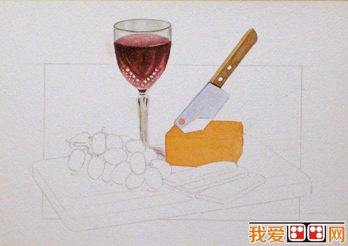 静物水彩画教程:红酒,葡萄,刀,面包,菜板水彩绘画步骤