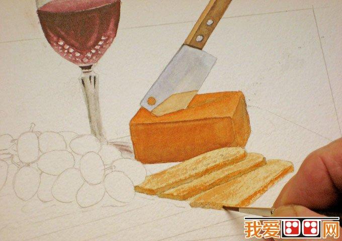 静物水彩画教程 红酒,葡萄,刀,面包,菜板水彩绘画步骤 3