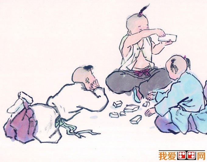儿童画画图片:古代娃娃玩耍嬉戏国画人物图片12p图片