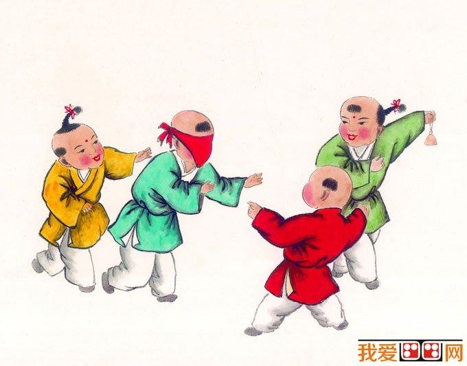 儿童画画图片:古代娃娃玩耍嬉戏国画人物图片12p(4)图片
