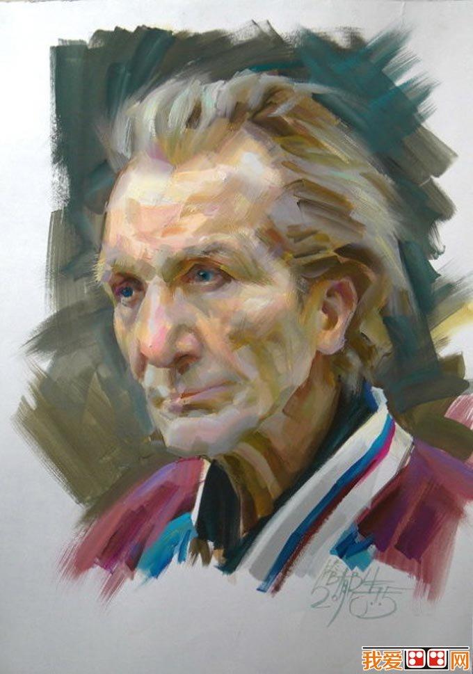 老人水粉画教程:外国老人头像水粉绘画步骤(7)