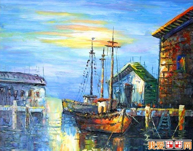 色彩艳丽的欧洲小镇风情复古油画风景图片18p(5)_世界