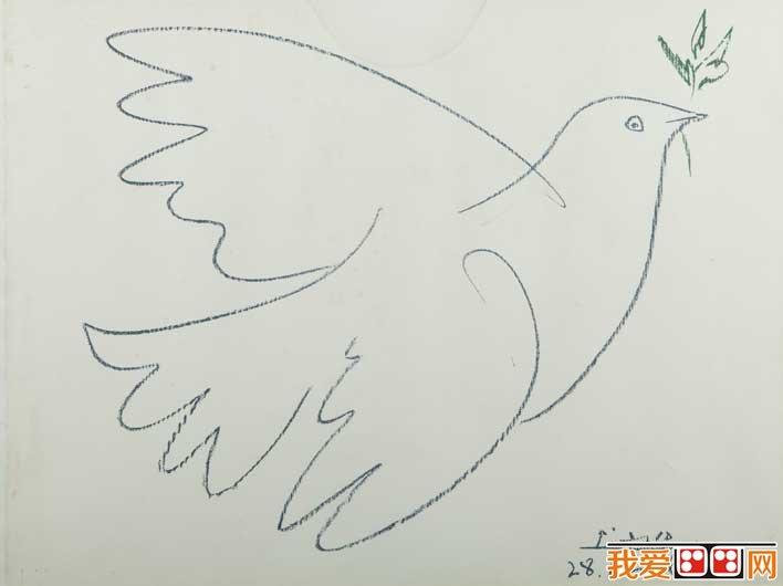 毕加索和平鸽原图 飞翔的和平鸽简笔画