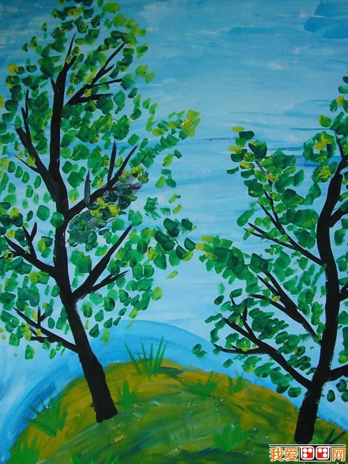 风景水粉画儿童画作品欣赏:春天的树