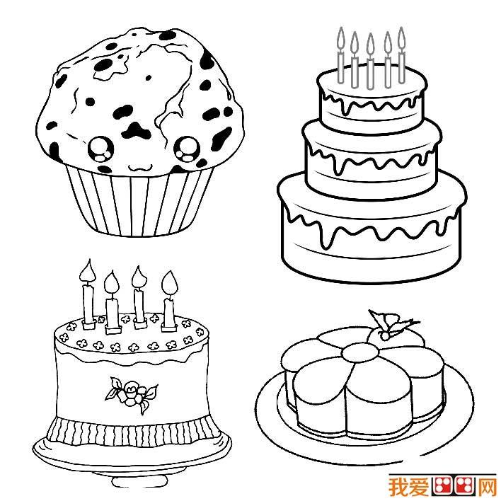 生日蛋糕简笔画图片大全_儿童画教程_学画画_我爱画画