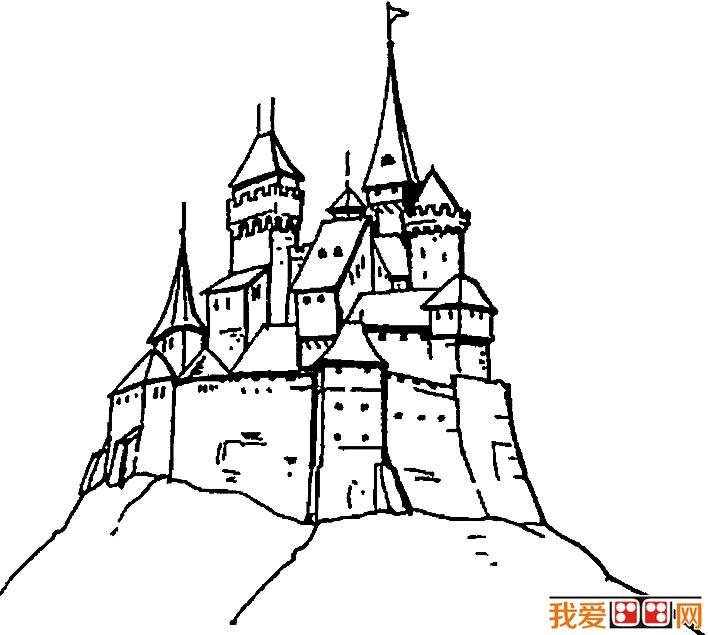 童话中的城堡简笔画,童话城堡简笔画图片大全 2