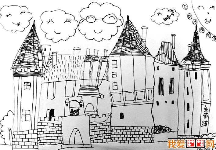 童话中的城堡简笔画,童话城堡简笔画图片大全(5)_儿童