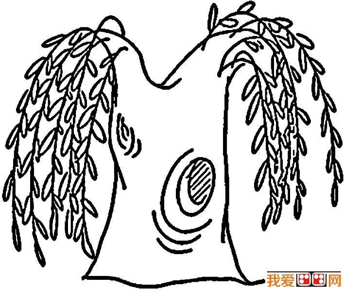 柳树简笔画,关于柳树的简笔画图片大全