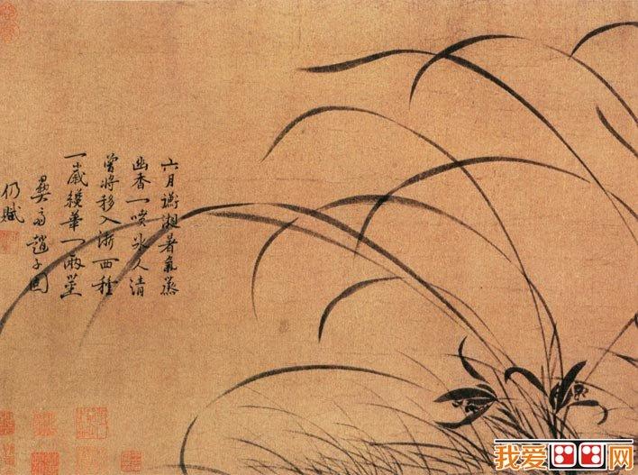 墨兰图 宋代名画水墨兰花图卷欣赏