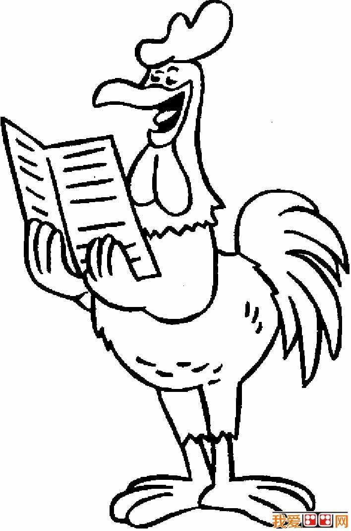 大公鸡简笔画图片 儿童画大公鸡图片(2)