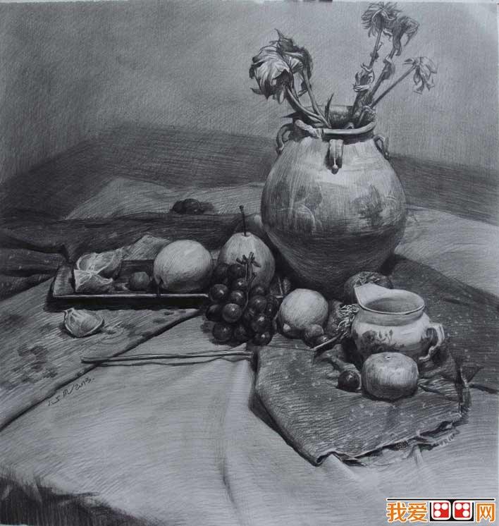 有水果的素描静物组合写生作品一组