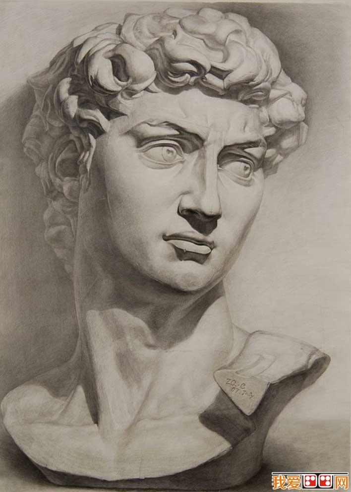 强烈质感写实素描静物和石膏像大卫优秀作品欣赏 2