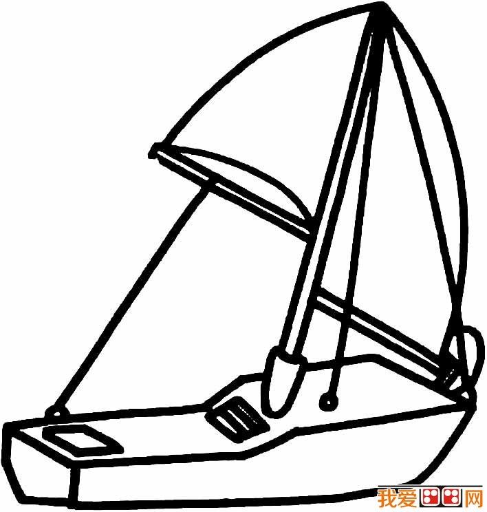 帆船简笔画图片,卡通帆船简笔画大全(2)