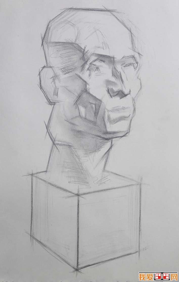 素描石膏头像写生教程:肌肉素描石膏像画法步骤(3)
