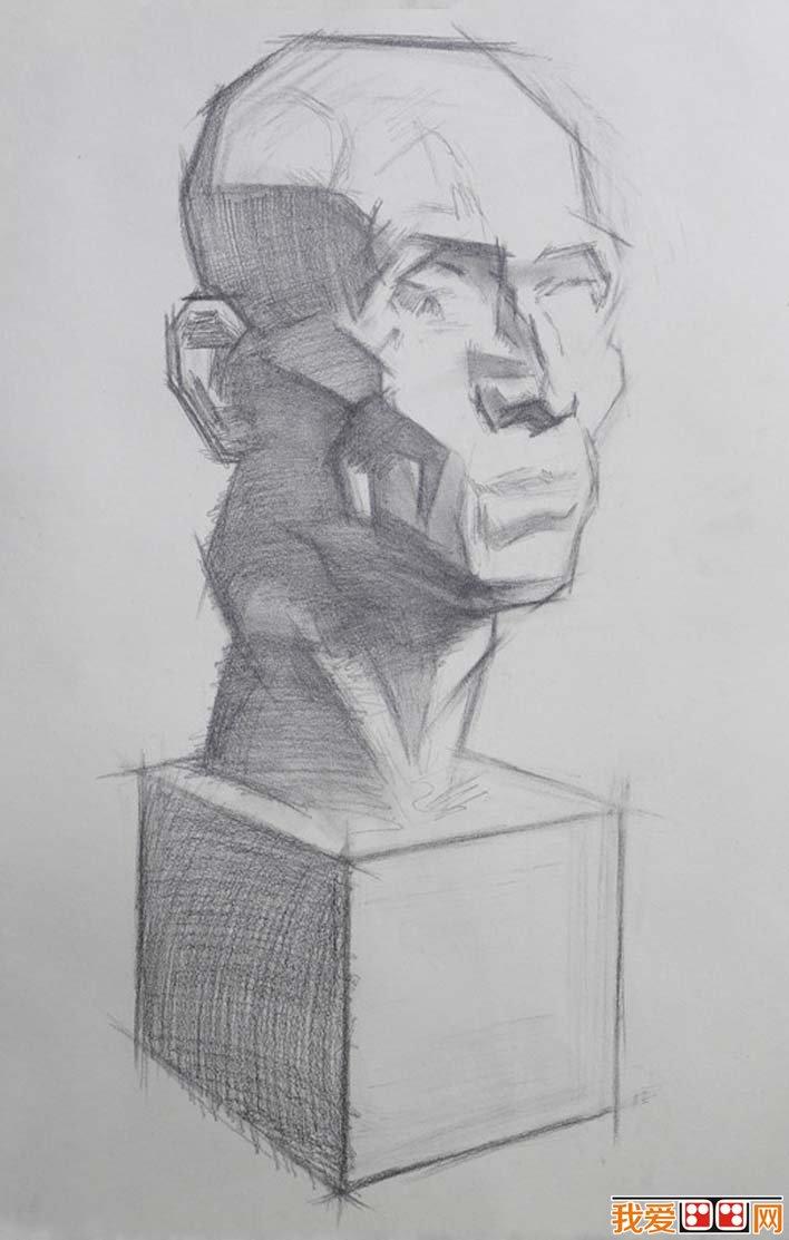 素描石膏头像写生教程:肌肉素描石膏像画法步骤(4)