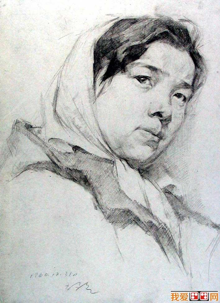 靳尚谊素描作品:中国油画大师靳尚谊优秀素描头像作品(13)