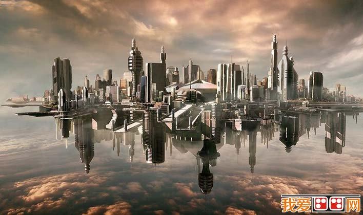 未来城市科幻画图片04:未来世界悬浮在太空中的城市-未来城市科幻图片