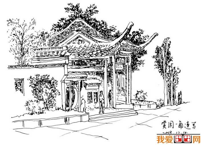名家鋼筆速寫風景作品:當代書畫家譚巍風景速寫作品高清大圖6p(2)