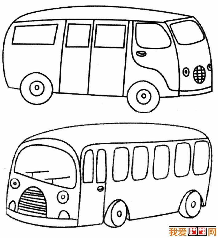 交通工具简笔画之公共汽车简笔画图片大全