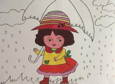 《雨中小女孩》 画画步骤:   1.