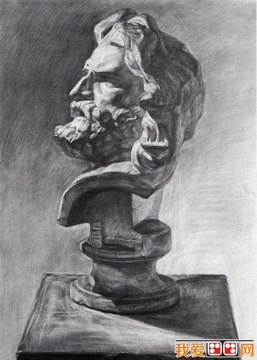 马赛石膏像素描