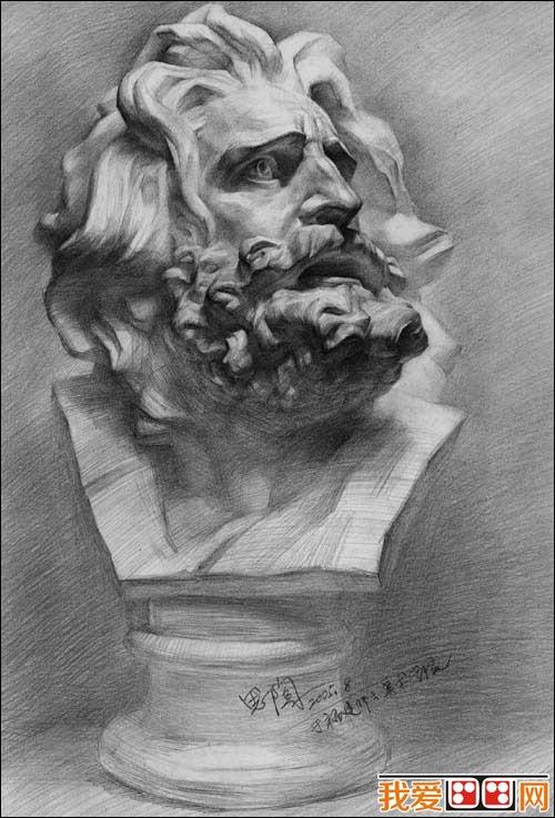 马赛石膏像素描写生作品