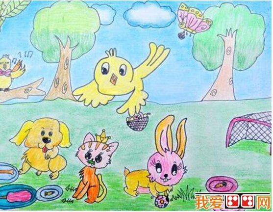 儿童画水彩画作品《动物乐园》系列欣赏