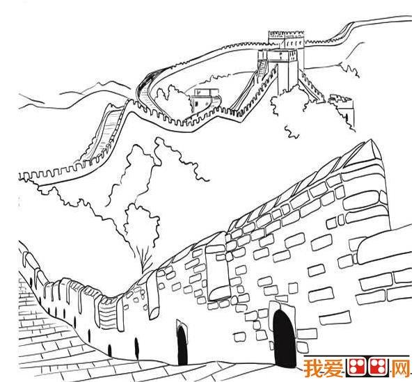 儿童简笔画:万里长城简笔画