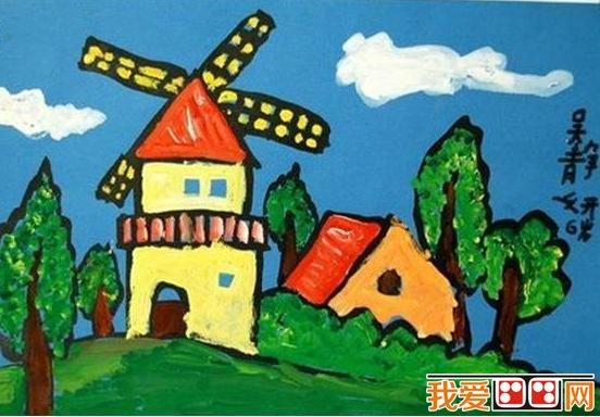 。  儿童画风车水粉画作品欣赏 图画与儿童来说是一种自然的吸引力,对儿童最有吸引力的一个天性既是图画。一笔笔天真的颜色,能很好提高宝宝们的想象力。  儿童画风车水粉画作品欣赏 引导孩子们利用自己的理解能力涂一张有想象力的