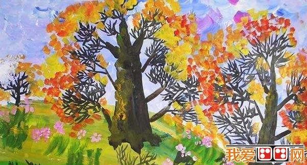 儿童水彩画-秋天的树木