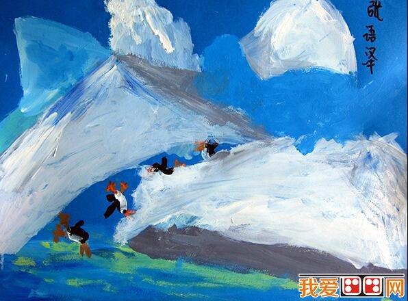儿童水彩画:冬天风景儿童水彩画作品欣赏(5)