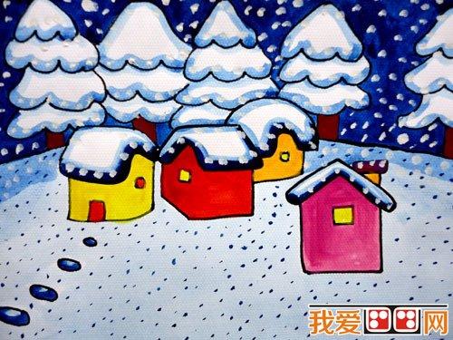 儿童水粉画 冬日景色儿童水粉画作品欣赏 2