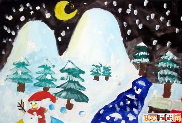 学画画 儿童画教程 儿童水粉画          南方的冬天,没有破晓的雄鸡