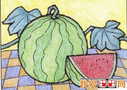 儿童画画教程:油画棒画西瓜步骤图解(6)