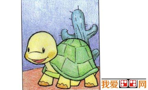 儿童画画教程:油画棒画小乌龟步骤图解(6)