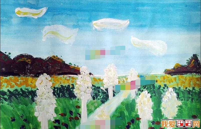 儿童水彩画:美丽的乡村风景作品欣赏(5)