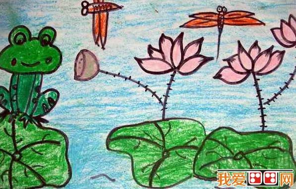 童画 夏日荷塘景色儿童蜡笔画欣赏 3
