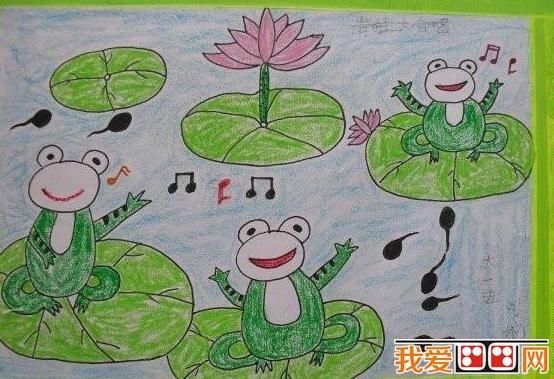 童画 夏日荷塘景色儿童蜡笔画欣赏 6