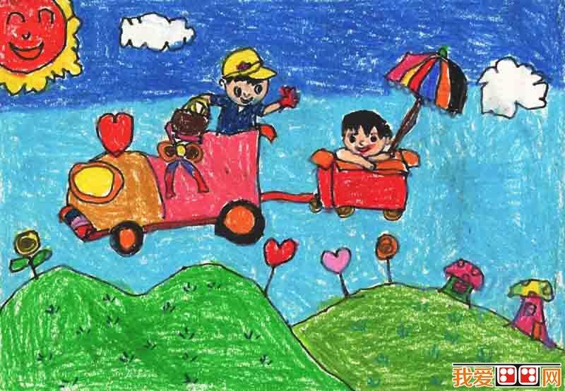 儿童画:暑假生活儿童蜡笔画欣赏(3)