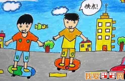 兒童畫:暑假生活兒童蠟筆畫欣賞(5)