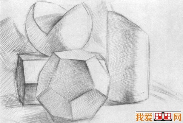 几何形体组合素描步骤