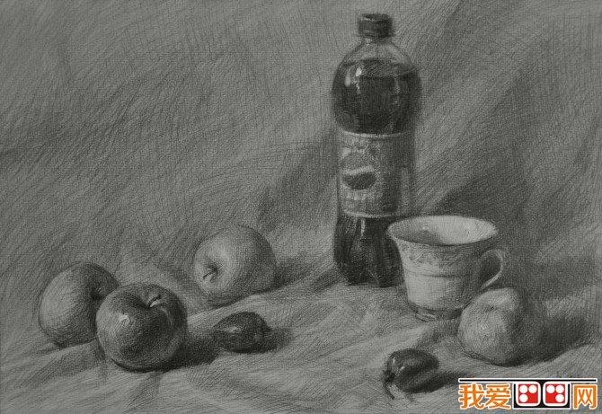 静物素描:可乐水果素描步骤