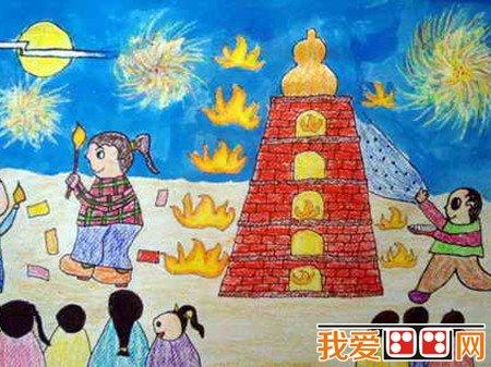中秋节儿童蜡笔画作品欣赏(2)