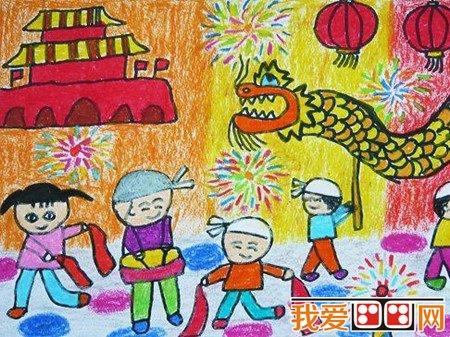 中秋节儿童蜡笔画作品欣赏(5)