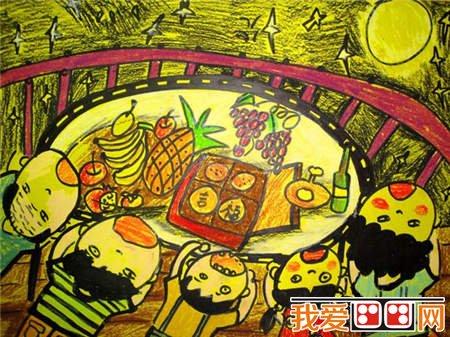 学画画 儿童画教程 蜡笔画     许多少数民族在中秋节这天丰收,祭祀